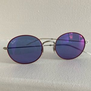 RAYBAN Round Sunglasses Blue Red Silver Soft Touch